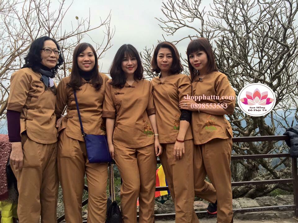 bộ đồ đi chùa màu vàng bò - kiểu Đài Loan 5 nút